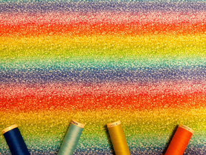 Rainbow Stripe Glitter Effect Horizontal all the Colors of the Rainbow Digital Print 100% Cotton