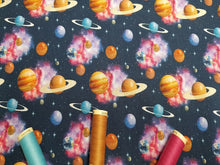 Load image into Gallery viewer, The Universe Planets Stars Bright Bold Multi Color Mix on a Navy Background Digital Print 100% Cotton