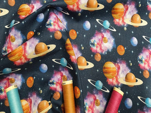 The Universe Planets Stars Bright Bold Multi Color Mix on a Navy Background Digital Print 100% Cotton