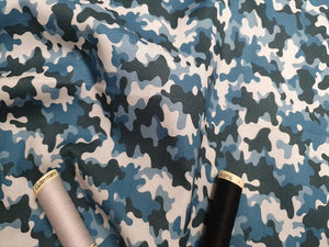 Camouflage Blue Charcoal & Ivory Digital Print 100% Cotton