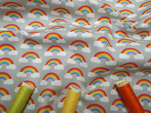 Rainbows on Clouds all the Colors of the Rainbow on a Silver Grey Background Digital Print 100% Cotton