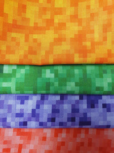 Bright Pixel Designs Orange Purple Green & Red Fat Quarter Bundle 100% Cotton
