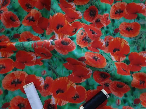 Field of Bright Red Poppies on a Green Background Digital Print 100% Cotton
