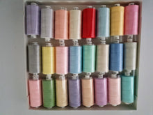 Load image into Gallery viewer, Moon Thread by Coats 100% Polyester Sewing Thread 24 x 1000 yds Light Assorted Colours