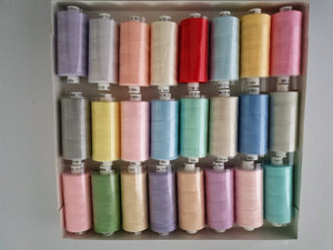 Moon Thread by Coats 100% Polyester Sewing Thread 24 x 1000 yds Light Assorted Colours