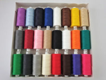 Load image into Gallery viewer, Moon Thread by Coats 100% Polyester Sewing Thread 24 x 1000 yds Bright Assorted Colours