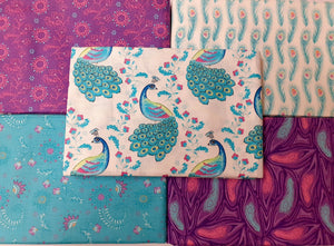 Elegant Peacocks By Sarah Payne White Fushia & Turquoise Mix 5 x 1 Metre Pieces Bundle 100% Cotton