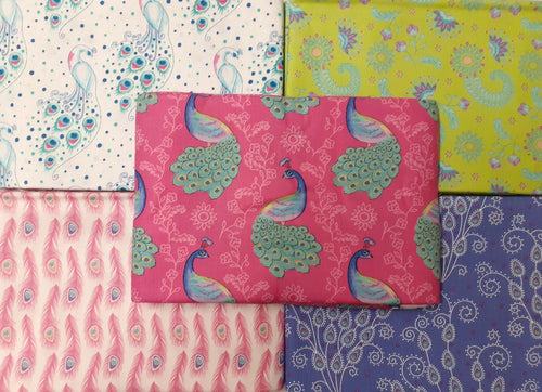 Elegant Peacocks By Sarah Payne Pink Green & Blue Mix 5 x 1 Metre Pieces Bundle 100% Cotton