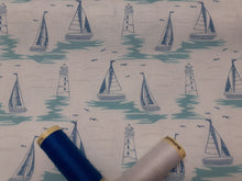 Load image into Gallery viewer, Driftwood Lighthouses & Sail Boats on a White Background 100% Cotton