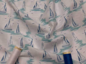 Driftwood Lighthouses & Sail Boats on a White Background 100% Cotton