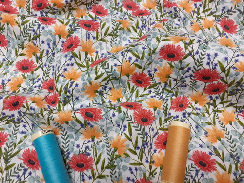 Beehive Multi Wild Floral Mix on a Ivory Background 100% Cotton