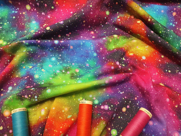 Vibrant Speckled Galaxy Multi Color Design Digitally Printed Jersey 95% Cotton, 5% Spandex