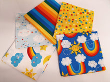 Load image into Gallery viewer, Happy Clouds & Bright Rainbow Mix Fat Quarter Bundle  100% Cotton