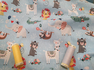 Wild About You Cute Animals on a Pale Blue Background 100% Cotton