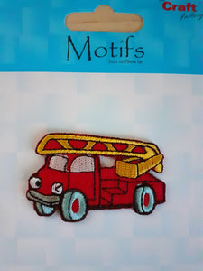 Fire Engine Iron On or Sew on Embroidered Fabric Motif 3cm x 5cm
