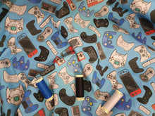 Load image into Gallery viewer, Xbox Playstation & Nintendo Controllers on a Blue Background Digital Print 100% Cotton