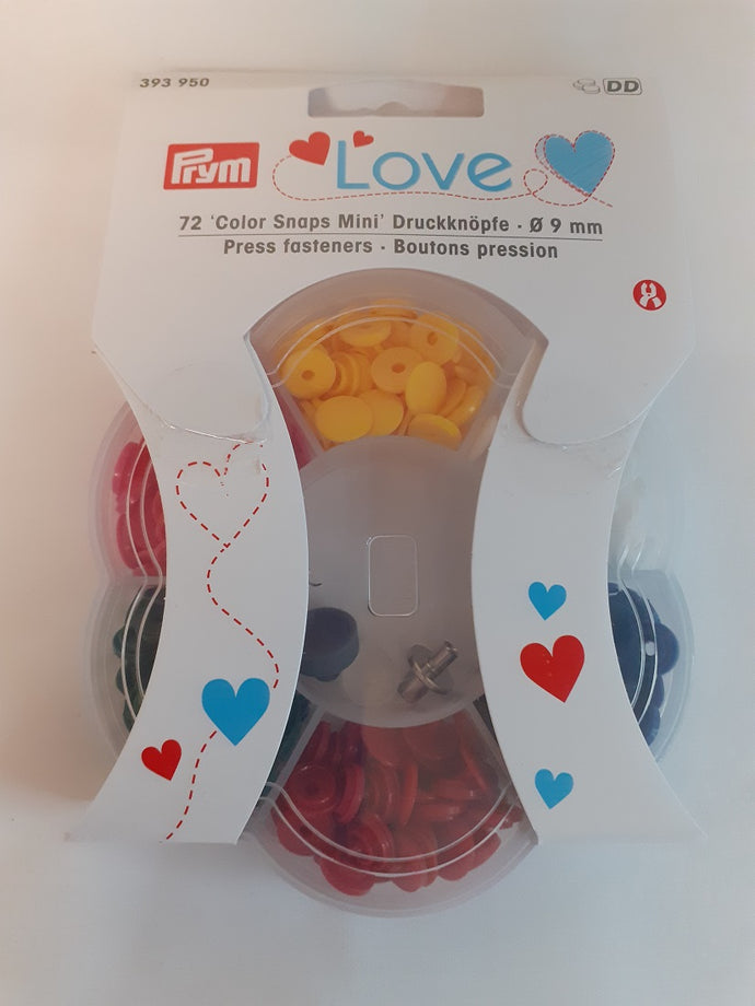 Prym Love Colour Mini Snap Fasteners 9mm 72 Piece Selection Box