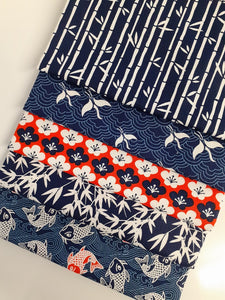 Kyoto Carp Navy & Orange Mix Fat Quarter Bundle  100% Cotton