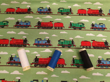 Load image into Gallery viewer, Thomas the Tank Engine & Train Track on a Green Background - Licensed 100% Cotton