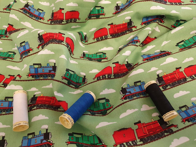 Thomas the Tank Engine & Train Track on a Green Background - Licensed 100% Cotton
