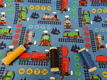Load image into Gallery viewer, Thomas the Tank Engine & Train Adventure on a Blue Background - Licensed 100% Cotton