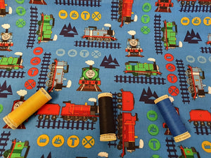 Thomas the Tank Engine & Train Adventure on a Blue Background - Licensed 100% Cotton