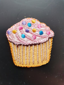 Cupcake Iron On or Sew on Embroidered Fabric Motif 3.5cm x 3.5cm