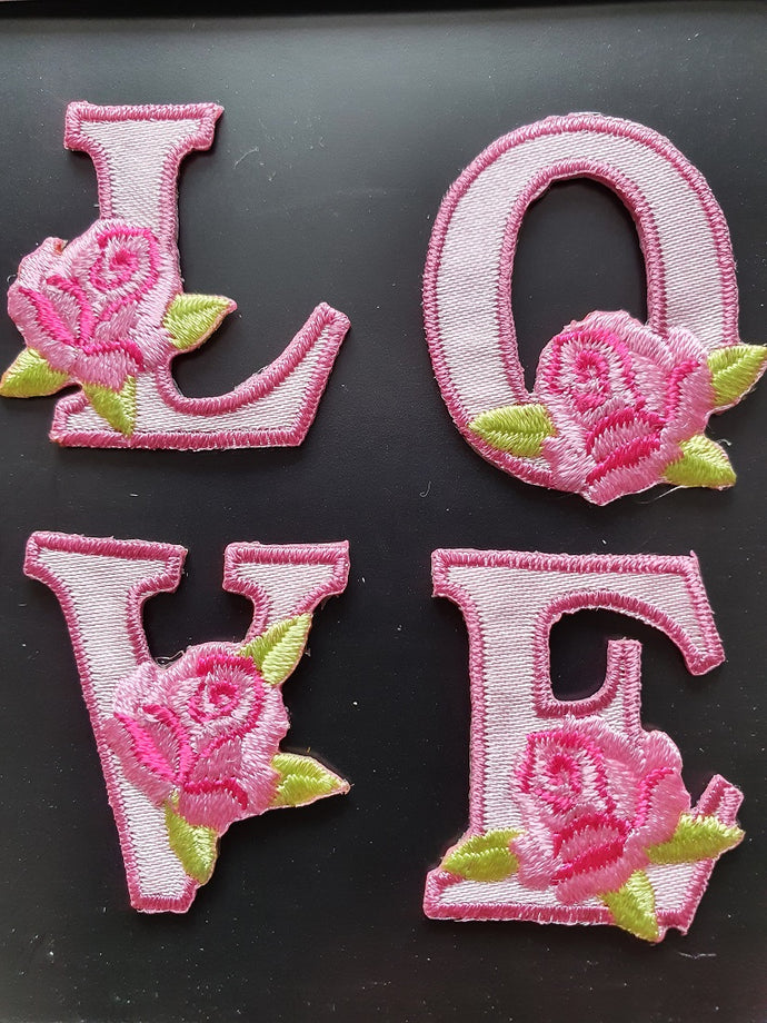 Love Iron On or Sew on Embroidered Fabric Motif 2.5cm x 3cm