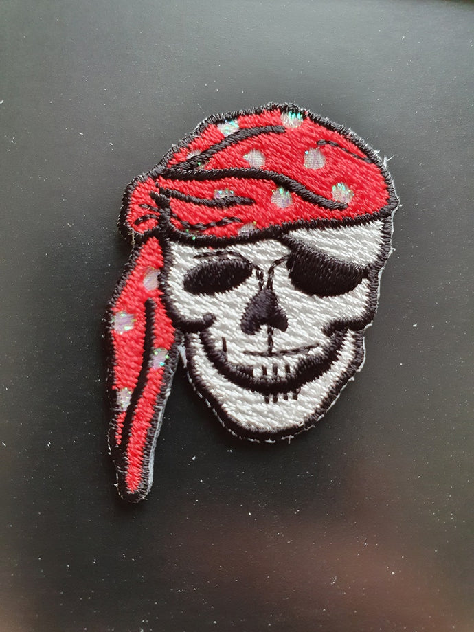 Pirate Skull Iron On or Sew on Embroidered Fabric Motif 3cm x 4cm