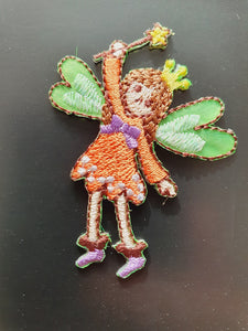 Tiny Orange Fairy Iron On or Sew on Embroidered Fabric Motif 4cm x 5cm