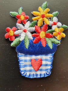 Flowers & Flower Pot Iron On or Sew on Embroidered Fabric Motif 4cm x 5cm