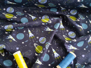 Rockets & Planets Jersey Bright Green & Blue Mix on a Navy Background 95% Cotton, 5% Spandex