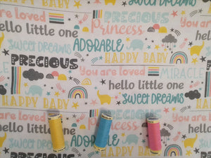 3 Wishes Small & Mighty FLANNEL by Angela Nickeas Sweet Words on a White Background 100% Cotton