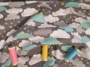 3 Wishes Small & Mighty FLANNEL by Angela Nickeas Clouds & Stars on a Grey Background 100% Cotton
