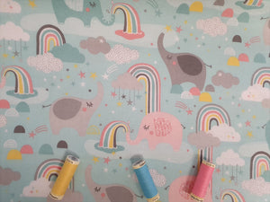 3 Wishes Small & Mighty FLANNEL by Angela Nickeas Elephants & Rainbows on a Aqua Background 100% Cotton