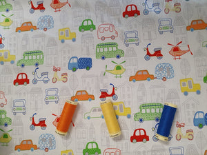Automobiles Cars Buses Scooters & Helicopters Multi Color on a White Background 100% Cotton
