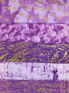 Metalic Gold Purple Design Fat Quarter Bundle  100% Cotton