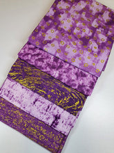 Load image into Gallery viewer, Metalic Gold Purple Design Fat Quarter Bundle  100% Cotton