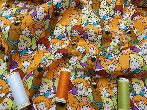 Scooby Doo Shaggy Fred Valma & Daphne Collage- Licensed 100% Cotton