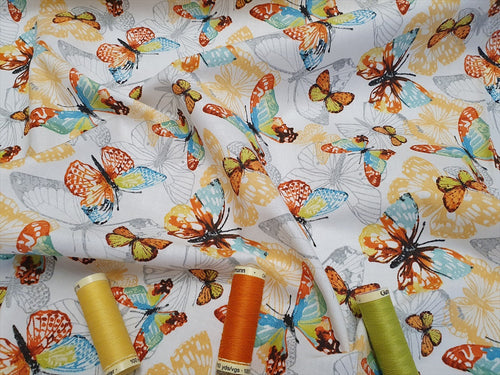 Bohemian Beautiful Multi Color Butterflies on a White Background 100% Cotton