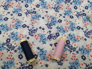 Pretty Little Blue & Peach Floral Design on a White Background 100% Cotton
