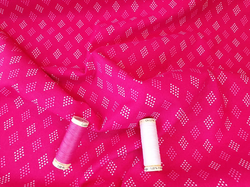 Essential Trend Blender Diamonds on a Cerise Pink Background 100% Cotton