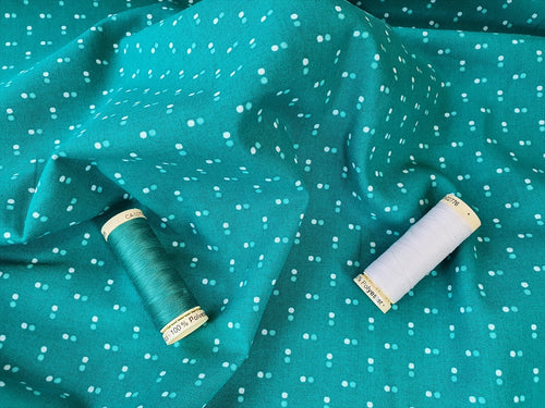Essential Trend Blender Dots on a Jade Green Background 100% Cotton