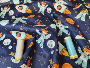 Mr Fox in Space on a Navy Background 100% Cotton