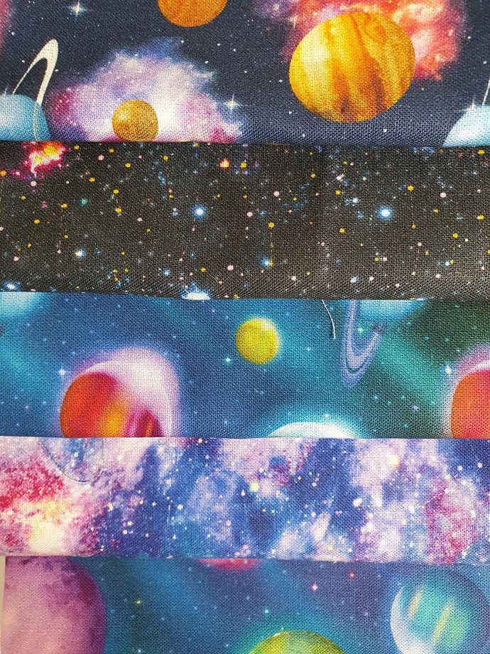 Galaxy Planets & Stars Bright Digital Print Quarter Bundle 100% Cotton