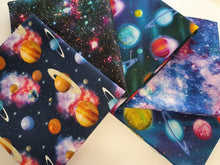 Load image into Gallery viewer, Galaxy Planets & Stars Bright Digital Print Quarter Bundle 100% Cotton