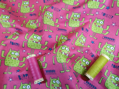 Funny Monsters Lime Green on a Cerise Background 100% Cotton