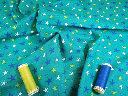 Funny Monsters Multi Color Stars on a Jade Background 100% Cotton