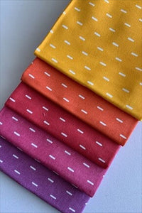 White Dash on Bright Color Mix Fat Quarter Bundle 100% Cotton