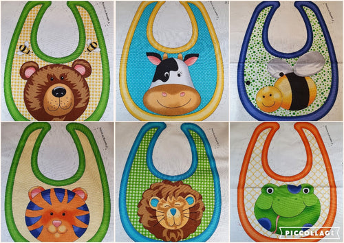 Quilting Treasures Sew & Go II Multi Animal Bibs Fabric Panel 100% Cotton